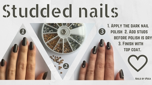 Step by step on how to do this real easy and cool nail art design. Just using one color and some studs!